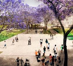 Computer-generated image of the future Rambla dels Encants