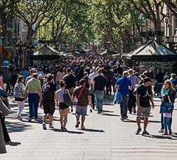 People walking along Les Rambles