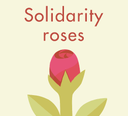 Sant Jordi campaign poster, with a picture and the text Solidarity roses