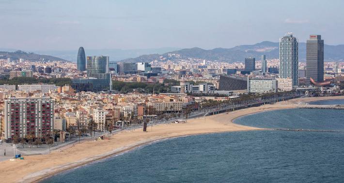 View of Barcelona's coastline